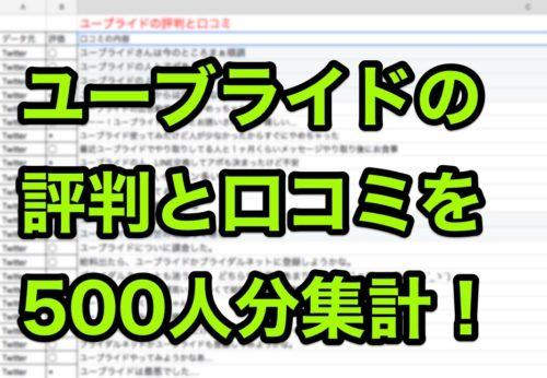 ユーブライド評判口コミ500人分集計