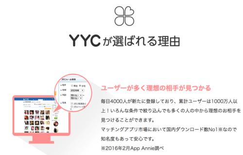 YYC評判口コミ料金_会員数が1000万人以上いる